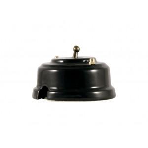 Выключатель (переключатель) фарфоровый однорычажковый проходной на 2 направления, цвет nero (черный), тумблер бронза