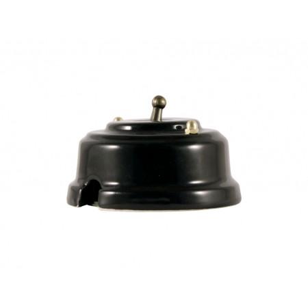 Выключатель однорычажковый фарфоровый, цвет nero (черный), тумблер бронза