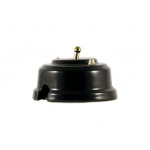 Выключатель однорычажковый фарфоровый, цвет nero (черный), тумблер золото