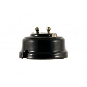 Выключатель двухрычажковый фарфоровый, цвет nero (черный), тумблер бронза