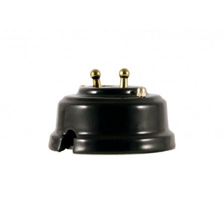 Выключатель двухрычажковый фарфоровый, цвет nero (черный), тумблер золото
