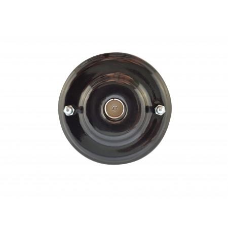 Розетка телевизионная оконченная фарфоровая, цвет nero (черный), серебристая фурнитура
