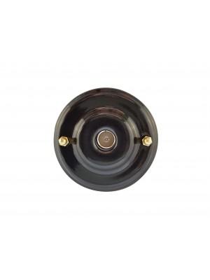 Розетка телевизионная оконченная фарфоровая, цвет nero (черный), золотистая фурнитура