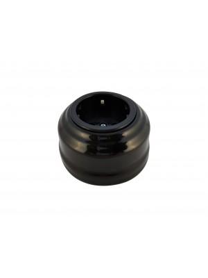 Розетка фарфоровая с/з, цвет nero (черный), серебристая фурнитура