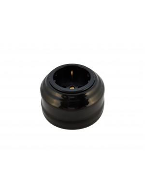Розетка фарфоровая с/з, цвет nero (черный), золотистая фурнитура