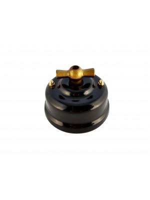 Выключатель фарфоровый поворотный двухклавишный, цвет nero (черный), ручка бронза