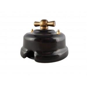 Выключатель (переключатель) фарфоровый поворотный одноклавишный проходной, цвет nero (черный), ручка бронза