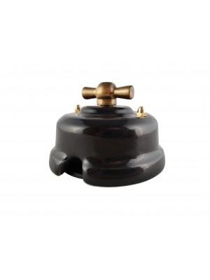 Выключатель фарфоровый поворотный одноклавишный, цвет nero (черный), ручка бронза