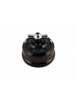 Выключатель фарфоровый поворотный двухклавишный, цвет nero (черный), ручка серебро