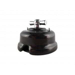 Выключатель (переключатель) фарфоровый поворотный одноклавишный проходной, цвет nero (черный), ручка серебро