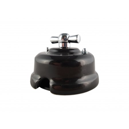 Выключатель фарфоровый поворотный одноклавишный, цвет nero (черный), ручка серебро