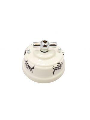 Выключатель (переключатель) фарфоровый поворотный одноклавишный проходной, цвет oriente (восток), ручка серебро