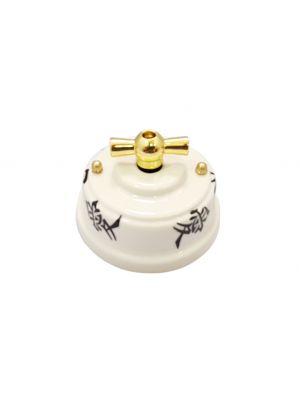 Выключатель фарфоровый поворотный двухклавишный, цвет oriente (восток), ручка золото