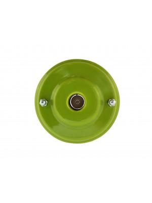 Розетка телевизионная оконченная фарфоровая, цвет pistacchio (фисташковый), серебристая фурнитура