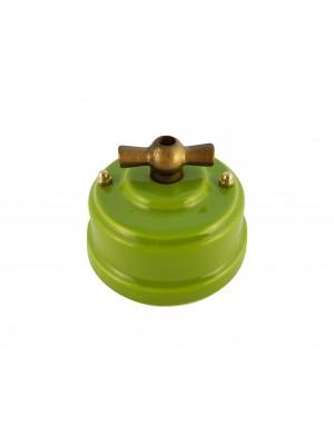 Выключатель фарфоровый поворотный двухклавишный, цвет pistacchio (фисташковый), ручка бронза