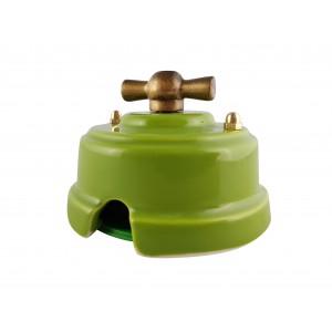 Выключатель (переключатель) фарфоровый поворотный проходной, цвет pistacchio (фисташковый), ручка бронза
