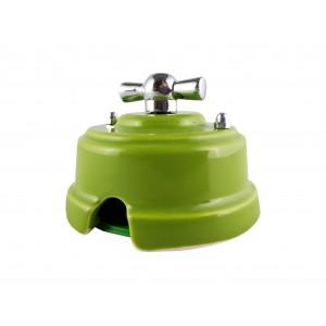 Выключатель фарфоровый поворотный одноклавишный, цвет pistacchio (фисташковый), ручка серебро