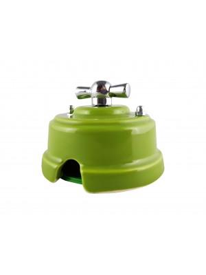 Выключатель (переключатель) фарфоровый поворотный проходной, цвет pistacchio (фисташковый), ручка серебро