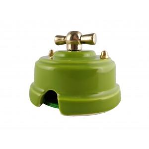 Выключатель (переключатель) фарфоровый поворотный проходной, цвет pistacchio (фисташковый), ручка золото